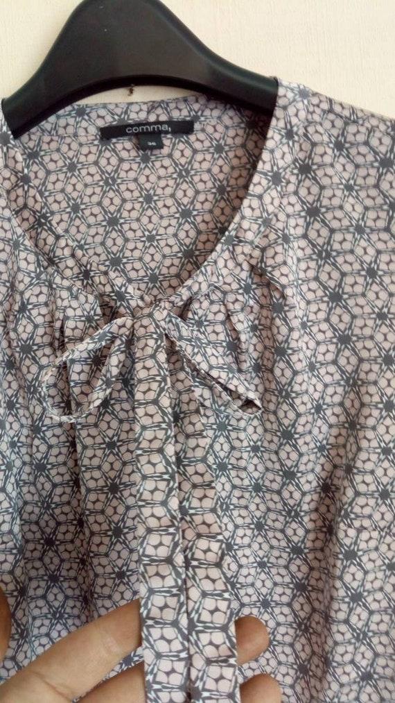 Vintage pink, grey top, Bow blouse, Silk like secr