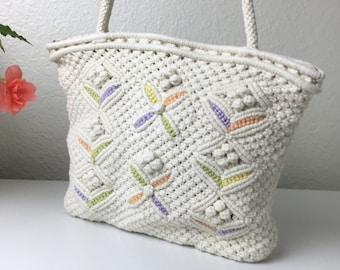 70's Pastel Macramé Shoulder Bag