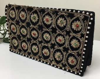 70's Crushed Velvet and Metal Thread Beaded Clutch From India