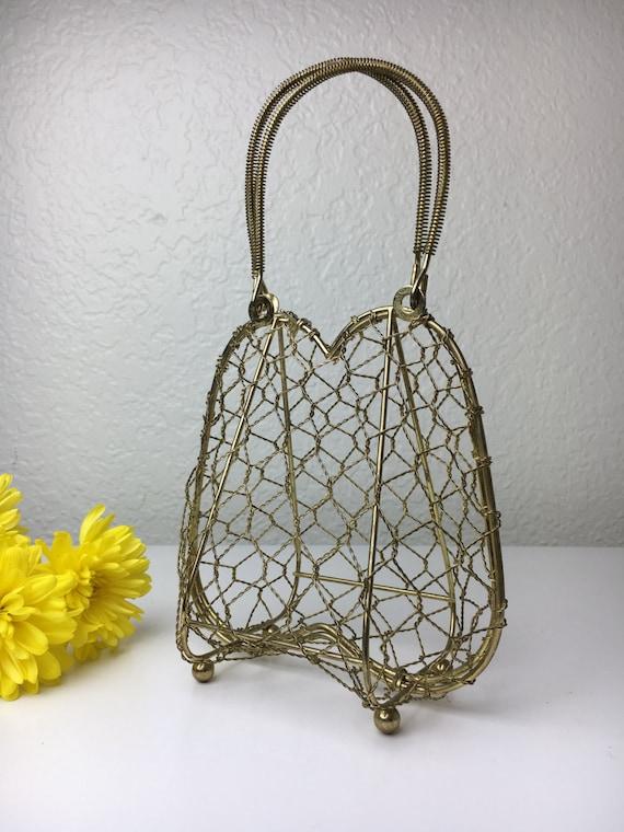 50's Brass Chicken Wire Kitsch Handbag