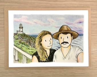 Personalised Hand Drawn Card Custom Greeting Personal Customised Gift Ideas Unique
