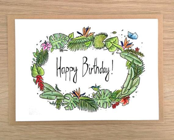 Tropical Happy Birthday Card Jungle Wreath Plants Etsy