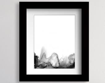 Black and White Watercolor Print Abstract Landscape Abstract Watercolor Art Abstract Painting Modern Abstract Art Watercolor Landscape