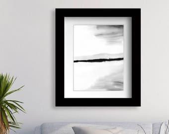 Minimalist Wall Art Prints, Printable Black and White, Landscape Print, Modern Landscape Painting, Minimal Landscape, Abstract Landscape Art