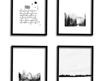 Abstract Art Print Printable Wall Art Landscape 4 Piece Wall Art Printable Art Abstract Landscape Watercolor Set of 4 Nature Prints
