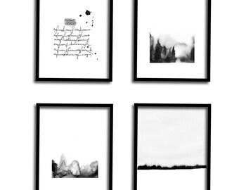 Set of 4 Prints, Printable Art Set, Gallery Wall Set, Black and White Art, Watercolor Set, Art Print Set, Modern Art Set, Abstract Landscape