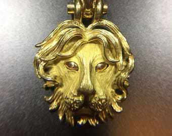 Large vintage 18K yellow gold lion head enhancer pendant