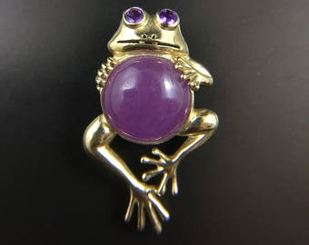 10K yellow gold frog brooch/pendant with purple jade and amethysts