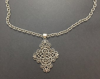 Huge cross crucifix pendant with necklace