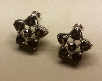 Sterling Silver .925 Star Earrings With Smoky Quartz