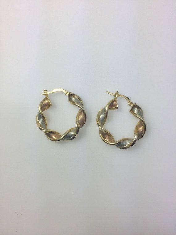 10K gold Italian twisted hoop tricolor earrings