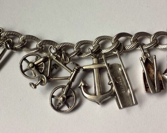 Vintage Sterling Silver .925 Bracelets With Charms