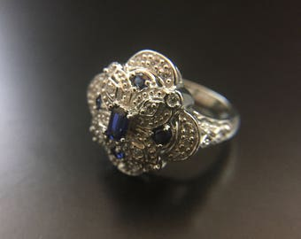 Sterling silver ring with blue and white CZ, size 8, weight 7 grams