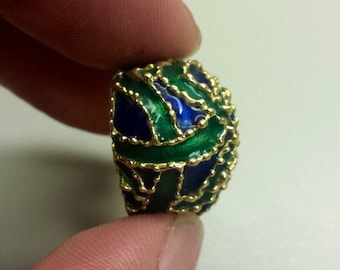 Vintage 14K Yellow Gold Ring With Enameling, Size 6.5