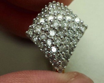 14K Yellow Gold Ring With Diamond Cluster, Size 6.5