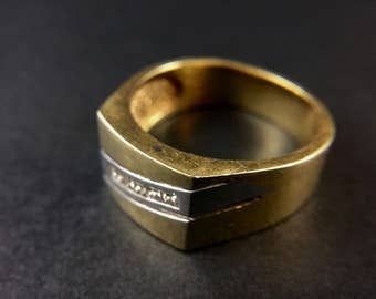 14K yellow gold and diamond mens's ring, size 12, weight 11.8 grams