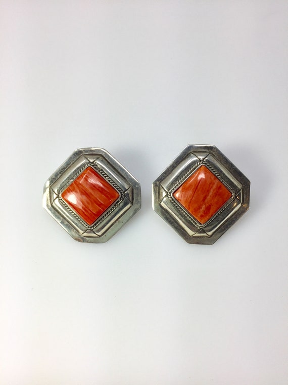 Sterling silver huge clip on earrings with orange