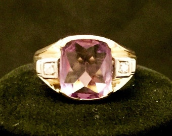 Vintage 10K Yellow gold ring with diamonds and amethyst from the 1930s to 40s, Size 9