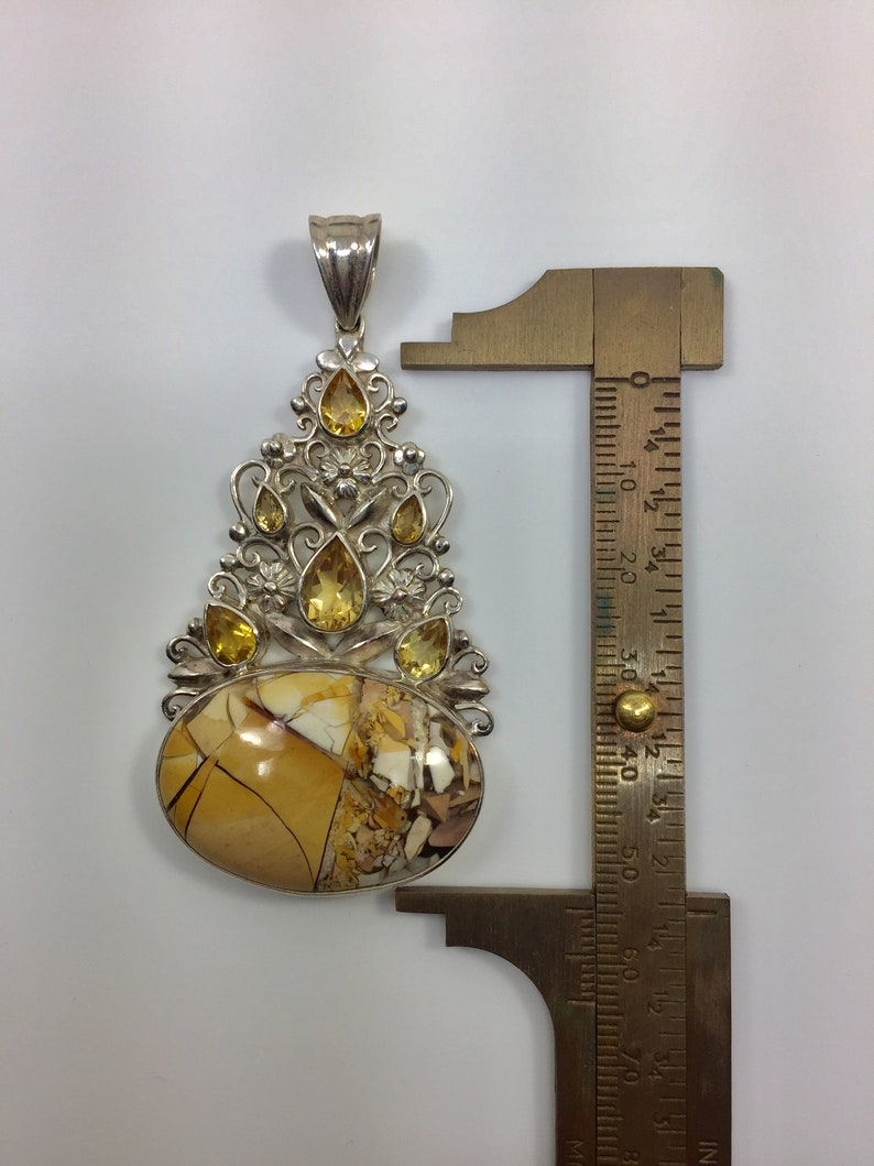 Huge sterling silver pendant with citrine and yellow mosaic stone