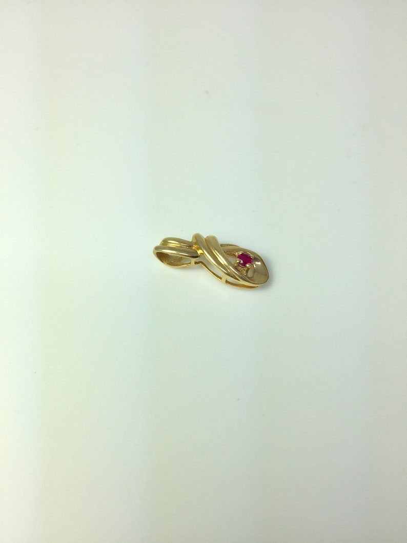 14K gold ruby pendant