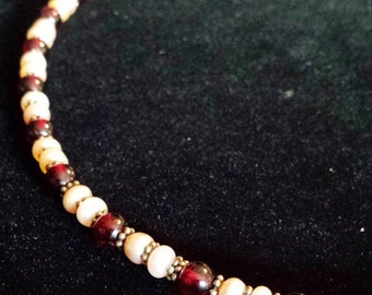 Sterling Silver .925 Necklace With Garnet and Pearl Beads