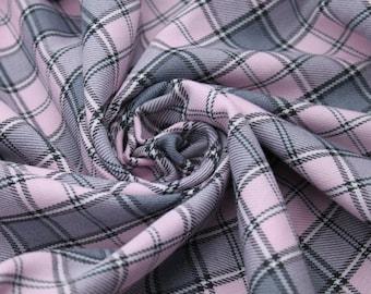 Pink & Light Grey Tartan Fabric