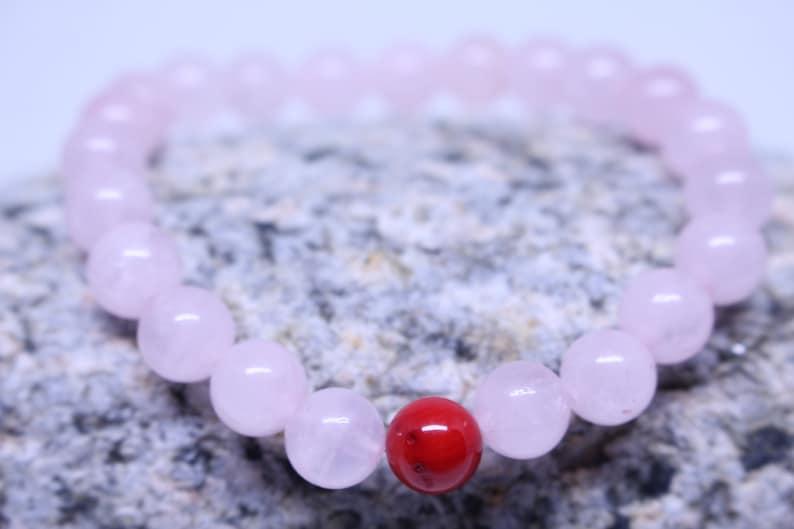 SWEET KISS Healing Gemstone Bracelet; Rose quartz and Dyed Red Coral Crystal Bracelet; Summer Gemstone Bracelet