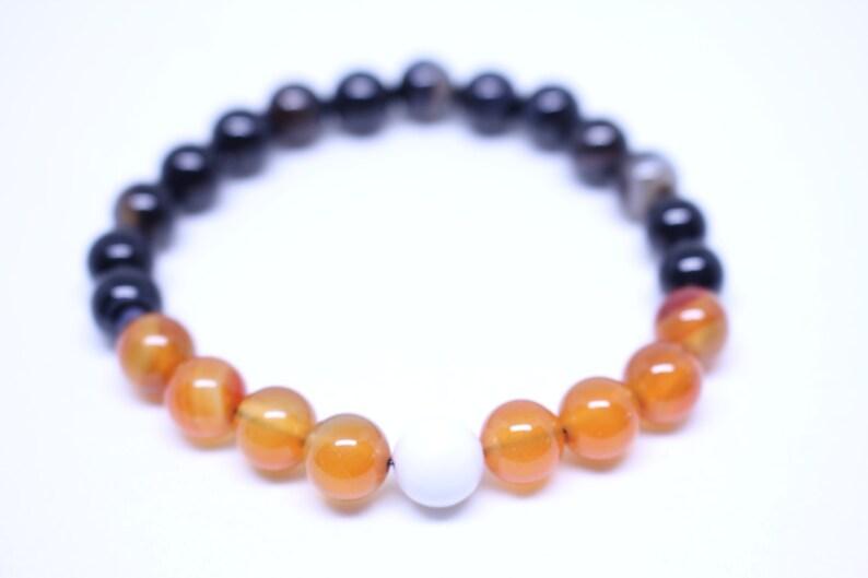 Black Agate White Howlite Gemstones Carnelian BEEHIVE Natural Healing Gemstone Bracelet