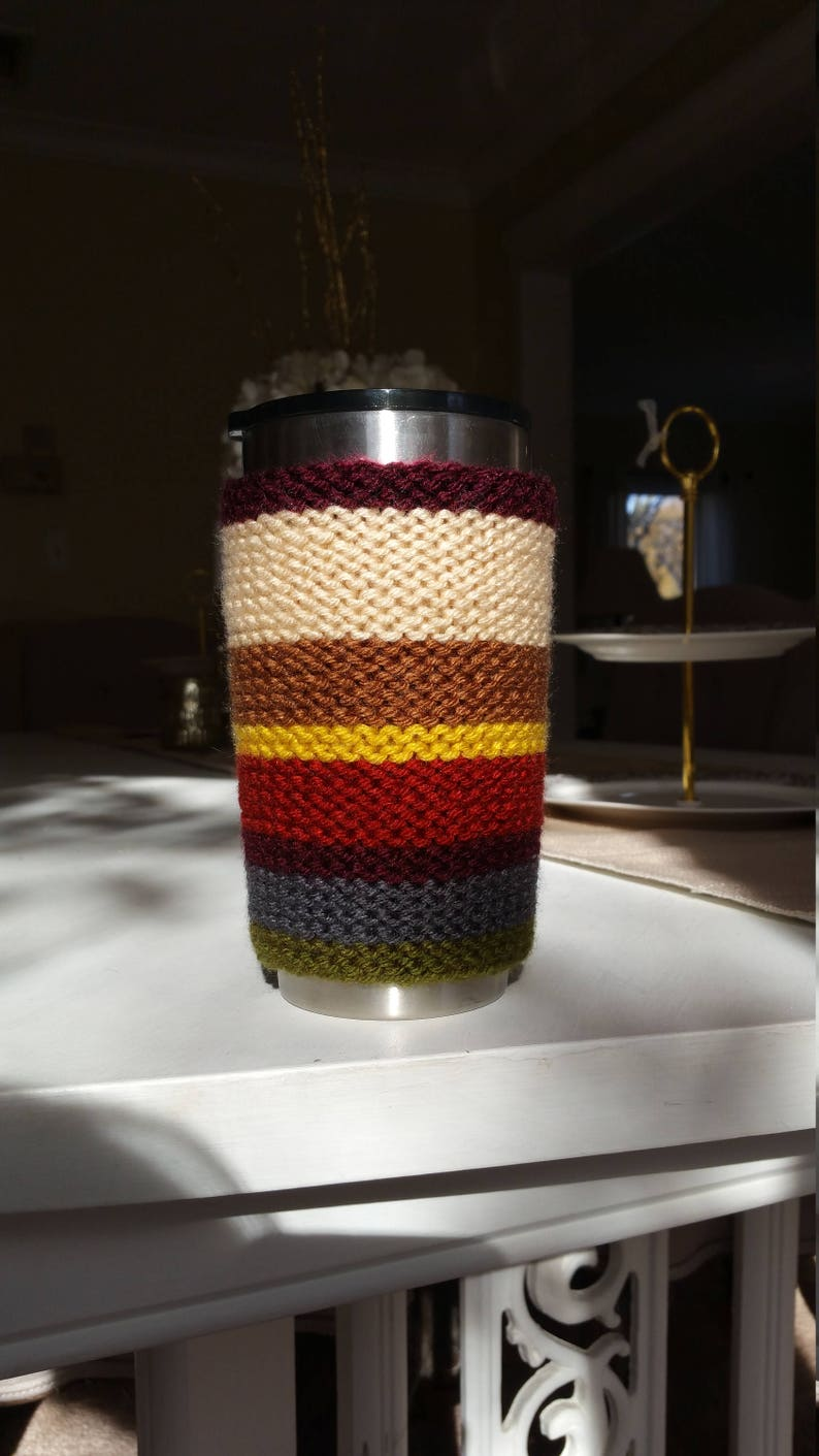 Doctor Who:  Baker-Osgood Scarf Pattern Hand Knit Cozie Mug image 0