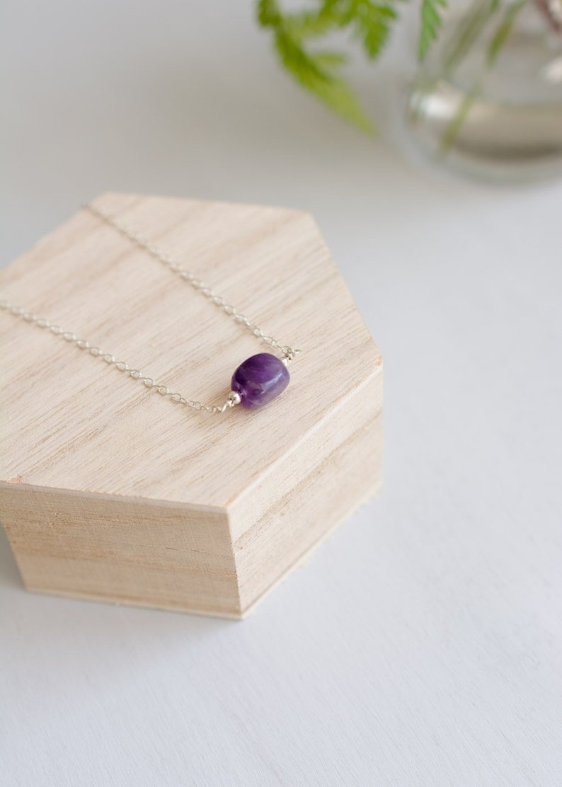 minimalist delicate silver necklace boho pendant for her bridesmaid amethyst jewelry plum necklaces for women Amethyst Gemstone Necklace