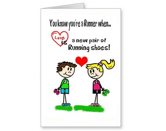 Valentine Card for Runners, Cartoon Card For Runners, Love Card For Runner,