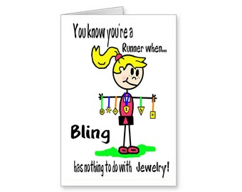 Runners Bling Card Funny For Runner Cartoon Running Greeting