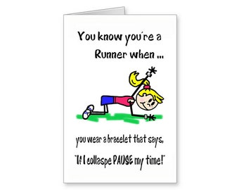 Funny Running Card Pause My Time Cartoon Fun For Runner Runners Encouragement Greeting