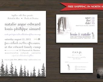 Forest Wedding, Lavender, Pine Trees Custom wedding Invitation