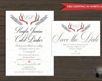 Rustic Antler Wedding Invitation - Elegant Rustic Antler Invitation Suite