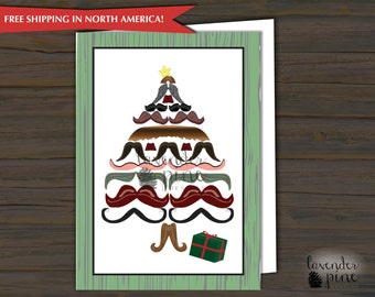 Mustache Tree Christmas Card Print or Digital, Envelopes Included, Mustache Holiday Card