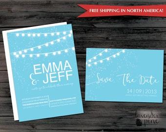 Lights Modern Wedding Invitation - Twinkle Lights Invitation Printable or Printed