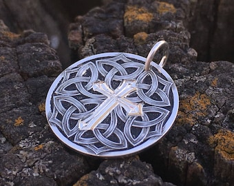Hand Engraved Sterling Silver and Gold Celtic Sculpted Cross Pendant