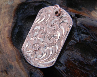 Hand Engraved Flowing Scroll and Flower Design Dogtag Style Copper Pendant