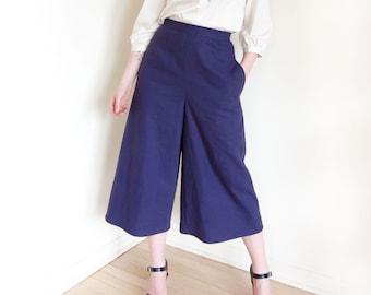 Wide Leg Culotte Pants in Navy Linen