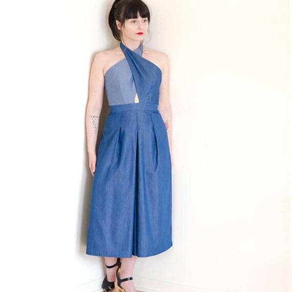 a77c3608e65 Blue Women Jumpsuit Tencel Denim Culotte Jumpsuit Cross