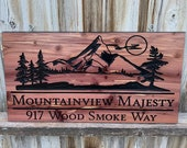 Custom Outdoor Wood Sign Personalized Farmhouse Decor Welcome Sign Wood Wall Art Address Trees Family Name FREE SHIPPING