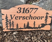 Custom Wood Signs Personalized Outdoor Welcome Sign Rustic Cedar Camp Sign Address House Numbers Pine Trees Family Name FREE SHIPPING