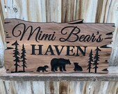 Custom Wood Signs Personalized Engraved Welcome Sign Outdoor Signs Camp Signs Bears Pine Trees Family Name FREE SHIPPING