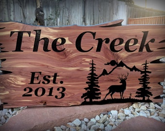 Custom Outdoor Wood Signs Lake House Decor Personalized Family Name Signs Established Sign Rustic Home Decor Cabin Signs for Outdoors Deer