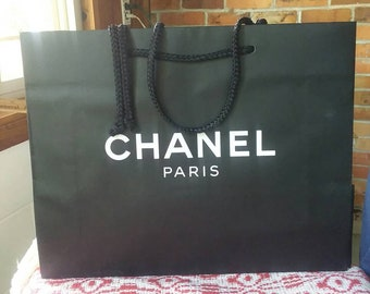 29e281e3137c CHANEL Authentic White on Black Paper Shopping Bag Empty Medium