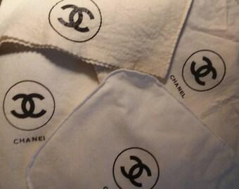 38f99e8a2e5f Chanel Dust Bag Authentic Black Lettering on Ecru