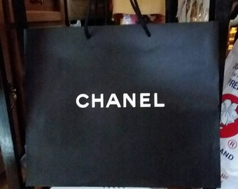 737f992743b9 CHANEL White on Black Paper Shopping Bag Empty Large