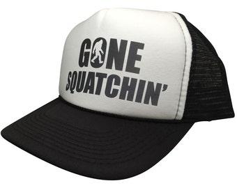 Brand New GONE SQUATCHIN 5 panel SNAPBACK Cap Funny Bigfoot Hat Trucker Mesh b6166402d776