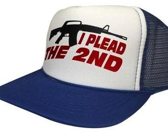 New Curved Bill I Plead The 2nd Snapback Cap NRA Gun Funny Hat Trucker Mesh ef0d619d09e2